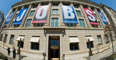 A 2013 jobs sign on the front of the US Chamber of Commerce building in Washington, DC. (Photo: Karen Bleier/Newscom)