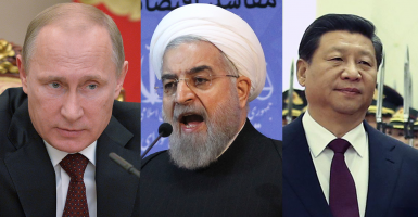 From left: Vladimir Putin, president of Russia; Hassan Rouhani, president of Iran; Xi Jinping, president of China. (Photos: Newscom)