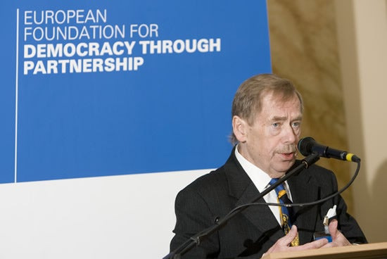 April 14; 2008. -- Former Czech President and dissident Vaclav Havel attends the launch of the European Foundation for Democracy through Partnership.