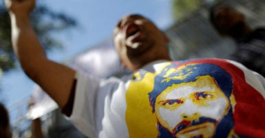A supporter of jailed opposition leader Leopoldo López shouts during a protest calling for the Maduro administration to release political prisoners, Dec. 6, 2016. (Photo: Ueslei Marcelino/Reuters/Newscom)