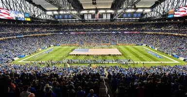 An NFL game honors Veterans Day before kickoff on November 9, 2014. (Photo: Steven King/Icon Sportswire/Newscom)