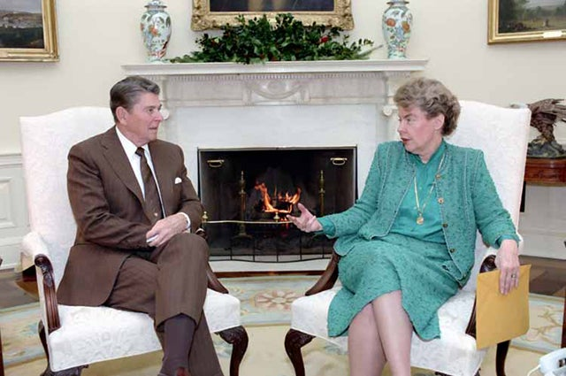 President Reagan meeting with Jeane Kirkpatrick in the Oval Office in 1984. Photo credit: White House Photo, courtesy Reagan Library