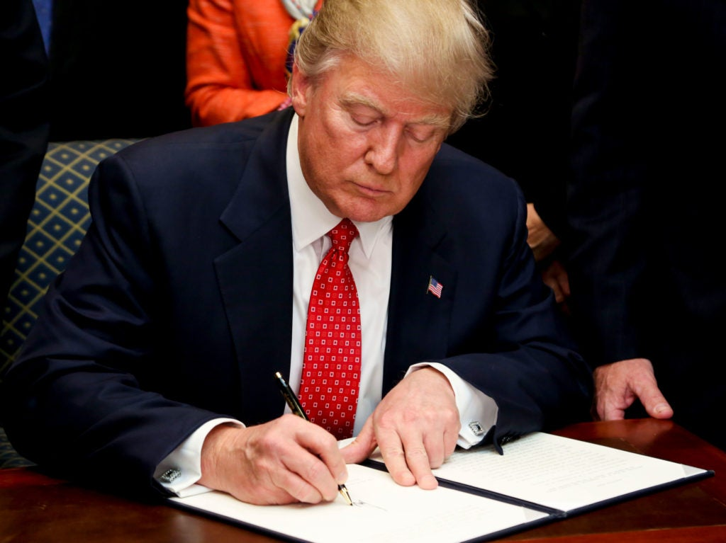 President Donald Trump signed an executive order on Feb. 28 directing the Environmental Protection Agency and Army Corps of Engineers to review the WOTUS rule, and either rescind or revise it. (Photo: Sipa USA/Newscom)