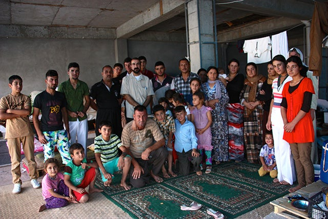 Many Yezidis take refuge in unoccupied buildings, where they live on one meal a day.