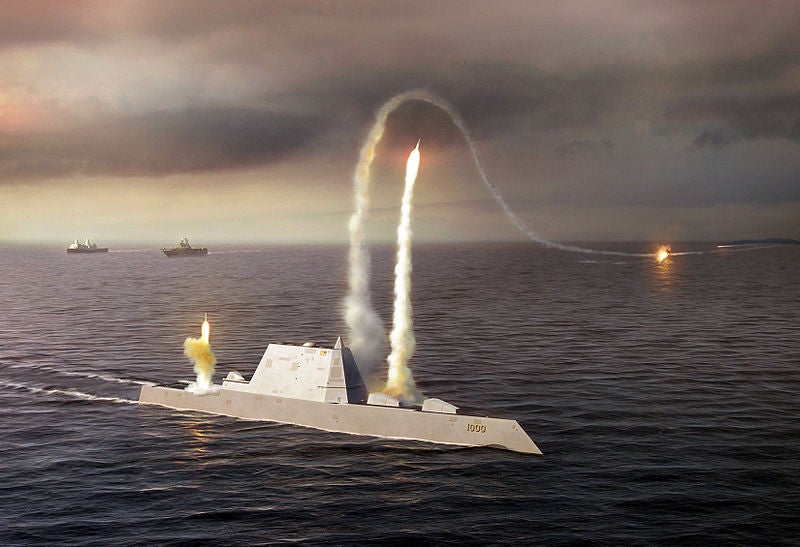 Artist rendering of the Zumwalt class destroyer