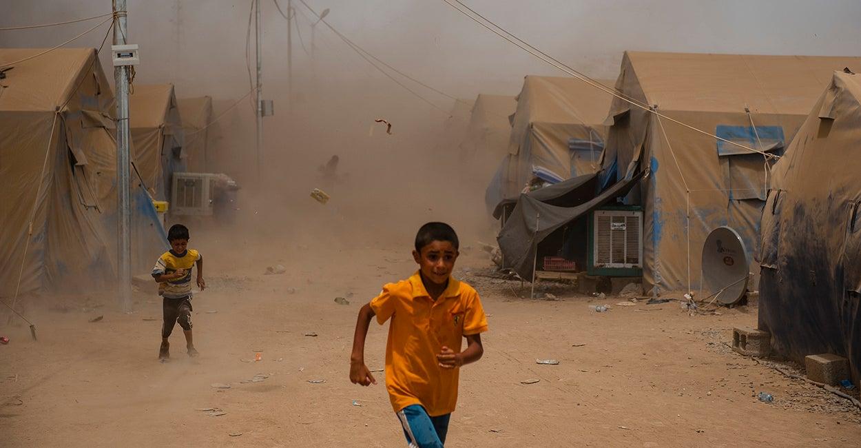 Niños en campo de refugiados