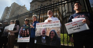Religious groups and family members hold vigils outside the Cuban interests Section in support of Alan Gross, the U.S. contractor who was imprisoned in Cuba. (Photo: Olivier Douliery/Newscom