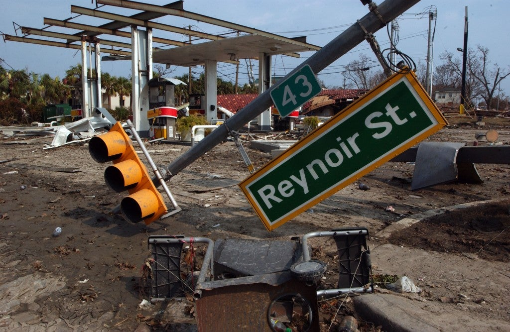 The aftermath of Hurricane Katrina shows the utter devastation of the storm as it ripped roofs off of structures and downed traffic lights. (Photo: Kristin Callahan/ACE Pictures/Newscom)
