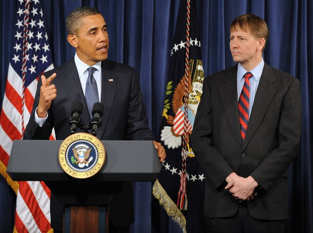 President Obama and  Richard Cordray at the Consumer Financial Protection Bureau.