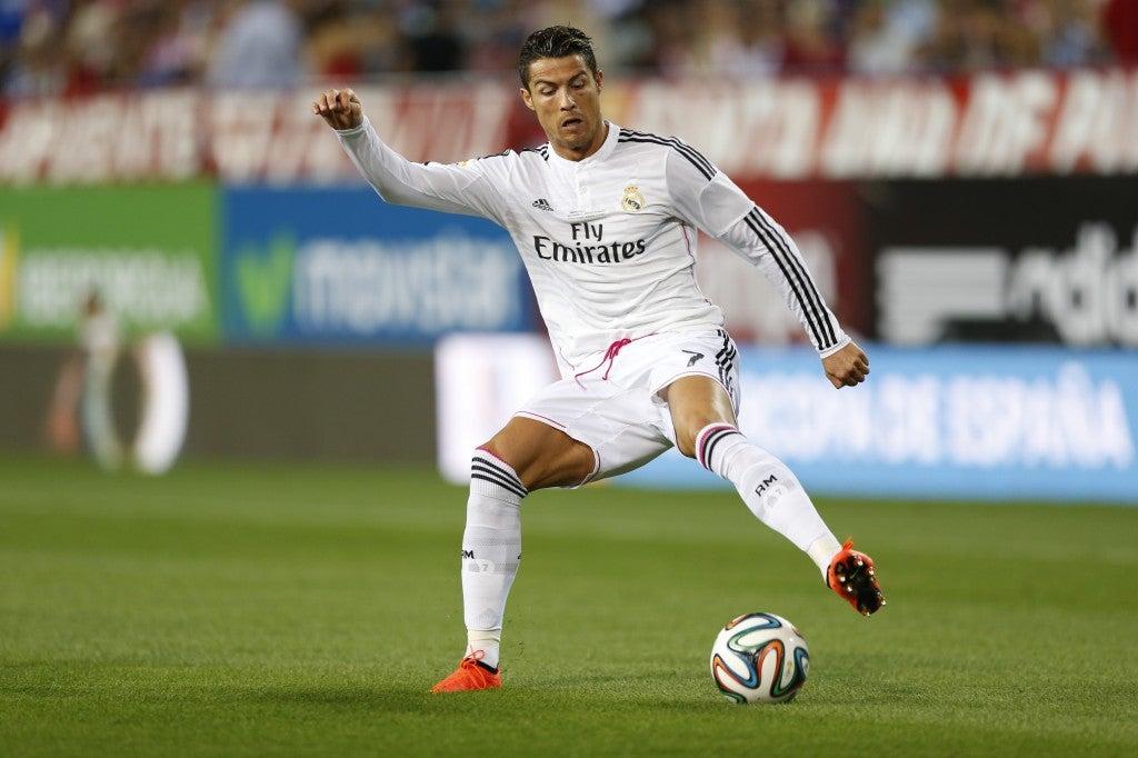 Cristiano Ronaldo at the Vicente Calderon Stadium in Madrid, Spain. (Photo: Mutsu Kawamori/AFLO)