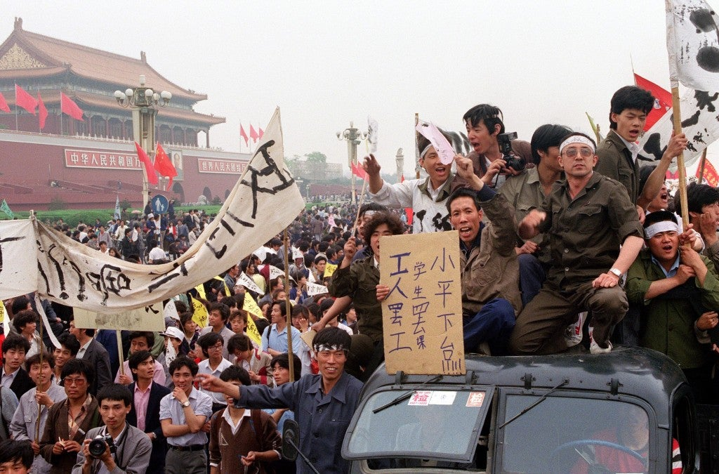 Chinese workers filling the streets of Beijing to support the students' pro-democracy movement and their hunger strike.
