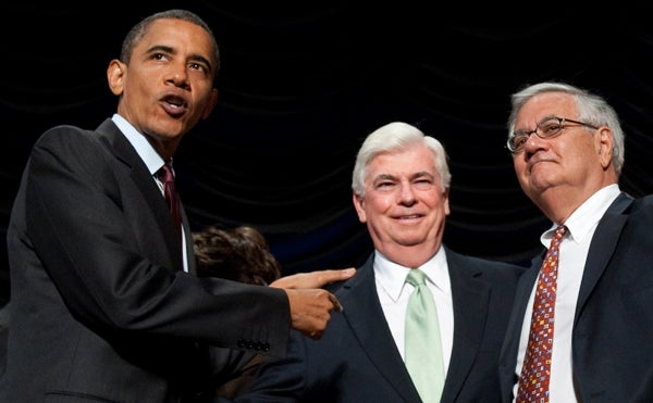 President Obama with Sen. Chris Dodd and Rep. Barney Frank
