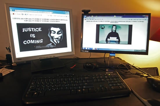 The main website of the Greek Ministry of Justice in Athens, Greece, is seen hacked by Anonymous members from Greece and Cyprus warning that they will attack other ministries and press websites.