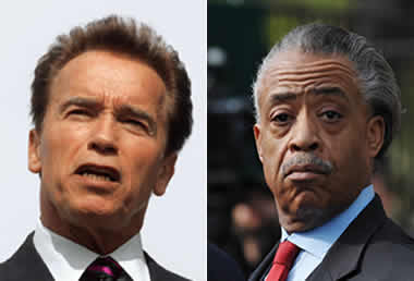 Arnold Schwarzenegger and Al Sharpton