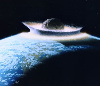 Illustration of an Asteroid Hitting the Earth