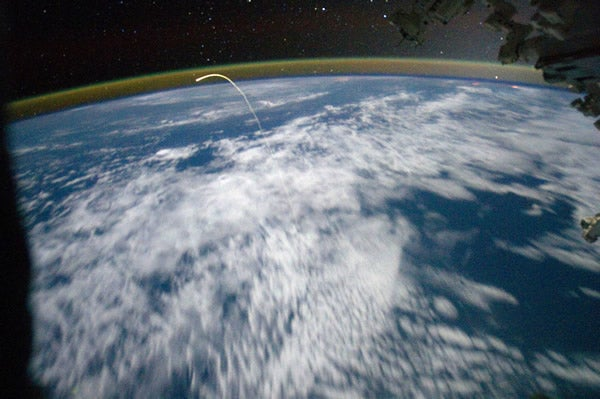 A view of space shuttle Atlantis from International Space Station on July 22, 2011