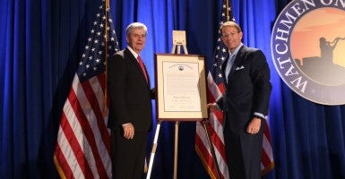 """God has also called ministers to government,"" Family Research Council President Tony Perkins said a presentation honoring Mississippi Gov. Phil Bryant with the Samuel Adams Religious Freedom Award in Washington, D.C., on May 26. (Photo: Family Research Council)"