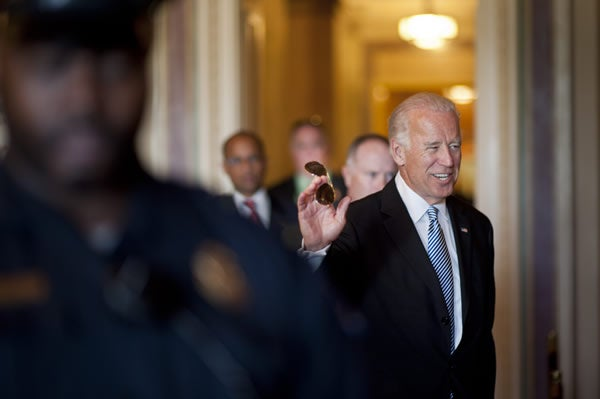 Vice President JOE BIDEN arrives at the U.S. Capitol on Tuesday for a meeting of the bipartisan, bicameral group of Members of Congress to continue work on a legislative framework for comprehensive deficit reduction