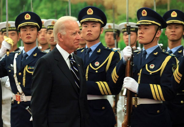 August 18, 2011, Beijing, China: U.S. Vice President Joe Biden is welcomed by his Chinese counterpart Xi Jinping during a ceremony at the Great Hall of the People in Beijing.