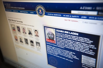 The FBI Ten Most Wanted are listed on their website with a special mention of Osama Bin Laden, marked deceased, seen on Monday, May 2, 2011