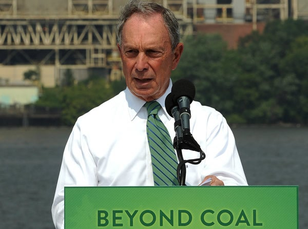 New York City Mayor Michael Bloomberg at press conference announcing partnership with Sierra Club on July 21, 2011