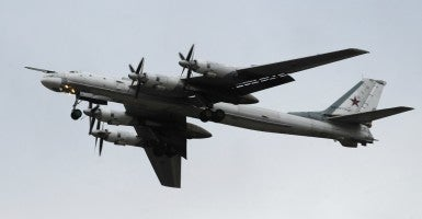 A Russian Air Force Tupolev Tu-95MS Bear strategic bomber during a training flight, in Ryazan region, Russion on November 16, 2012. (Photo by Alexander Ryumin/Itar-Tass/ABACAPRESS.COM)