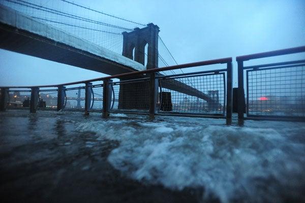 The Brooklyn Bridge during Hurricane Sandy.