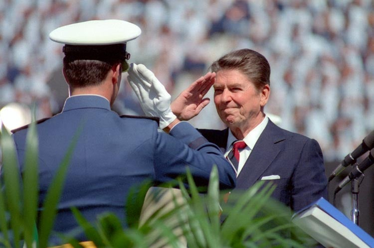 President Reagan salutes an Air Force cadet at the United States Air Force Academy Commencement in Colorado Springs Colorado. (Photo: Ronald Reagan Library)
