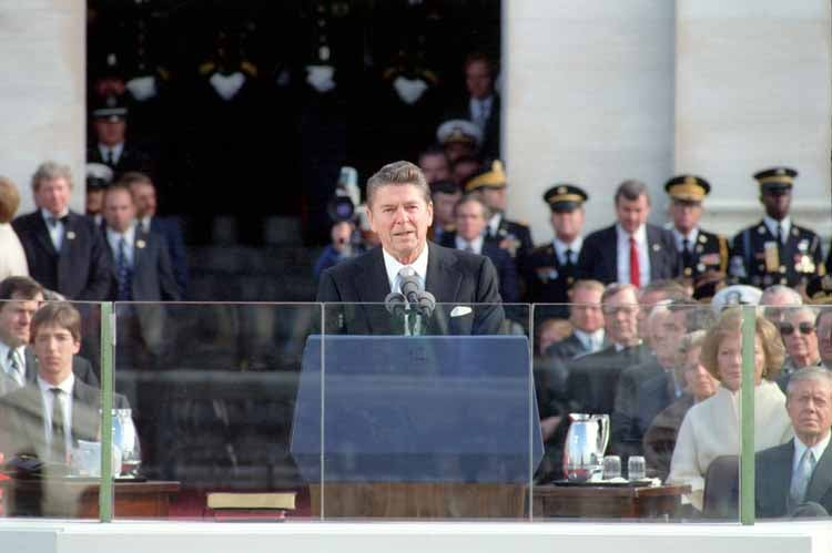 President Reagan giving his first Inaugural Address from the U.S. Capitol. (Photo: Ronald Reagan Library)