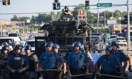 A mounted sniper rifle Aug. 13 in Ferguson. (Photo: Ymanjoura via Twitter)
