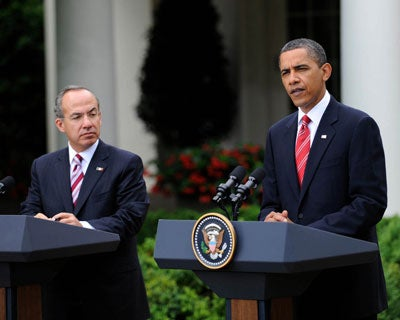 Presidents Calderon and Obama in the Rose Garden