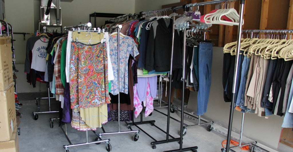 A garage filled with donated items serves as a shopping hub for residents. (Photo: Billy Glading/The Daily Signal)