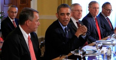 President Barack Obama meets with bipartisian congressional leadership in the Old Family Dining Room of the White House on Nov. 7. (Photo: Newscom)