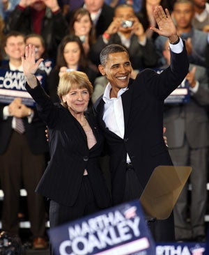 Martha Coakley and President Barack Obama