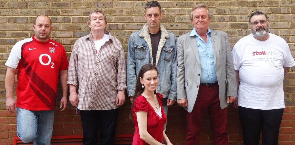 Jackie McLoughlin with the original Combat Veteran Players in London. (Photo: The Stage)