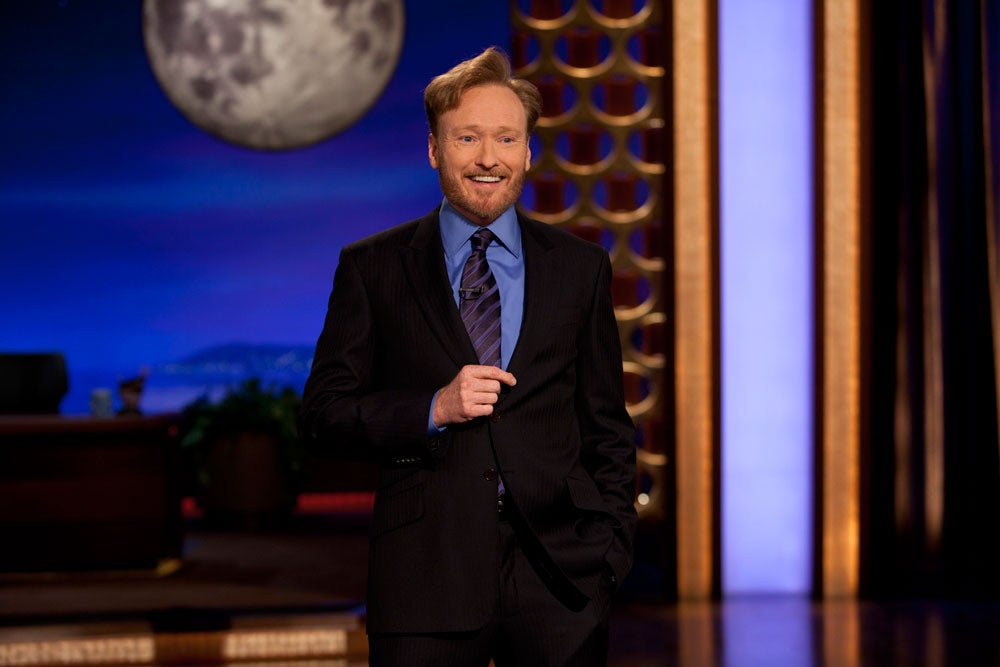 Comedian Conan O'Brien is shown on stage during the premiere of his new late night talk show on TBS 'Conan