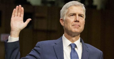 During his second day of questioning before the Senate Judiciary Committee, Judge Neil Gorsuch promised that he would be faithful to the Constitution. (Photo: Ron Sachs/SIPA /Newscom)