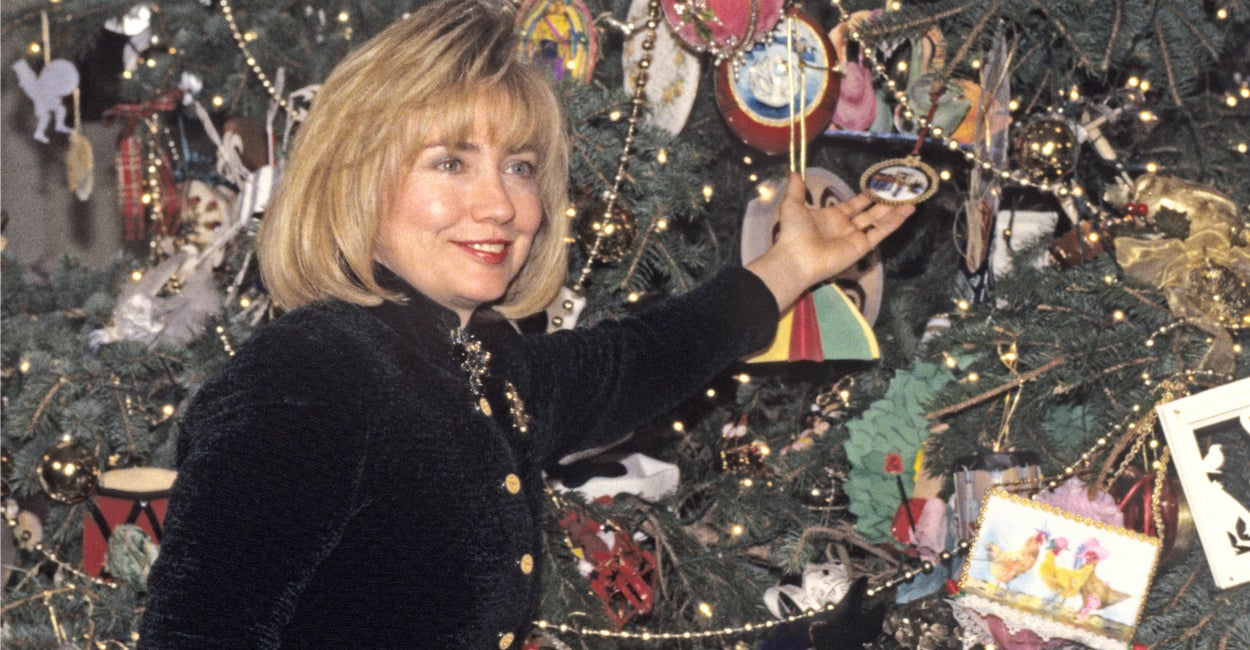 Clinton hosts a press event to preview the holiday decorations at the White House in  December of 1995. (Photo: Ron Sachs/CNP/AdMedia/Newscom)