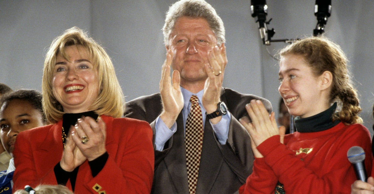 The Clintons attend a press event to preview the holiday decorations at the White House in December of 1993. (Photo: Ron Sachs/CNP/AdMedia/Newscom)