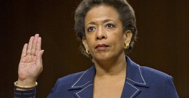 Loretta Lynch is sworn-in to testify before the U.S. Senate Committee on the Judiciary to confirm her appointment as U.S. Attorney General on Capitol Hill Jan. 28, 2015. (Photo: Ron Sachs/Newscom)