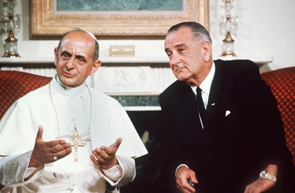 Paul VI was in New York to address the United Nations and met President Lyndon B. Johnson  at the Waldorf-Astoria Hotel in New York City. Their 46-minute talk included discussions of peace, civil rights, education, and poverty. (Photo: Schulmann-Sach/Newscom)