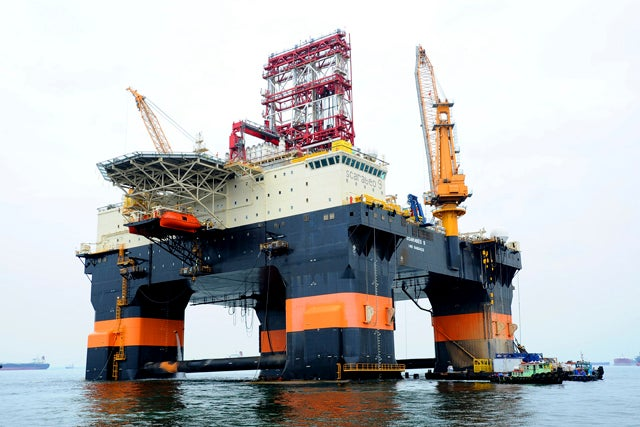 Handout photo of the Scarabeo 9, a new Chinese-built drilling rig, in Singapore