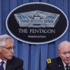 Secretary of Defense Chuck Hagel and Chairman of the Joint Chiefs of Staff Gen. Martin E. Dempsey speak at a press conference at the Pentagon. (Photo: Newscom)