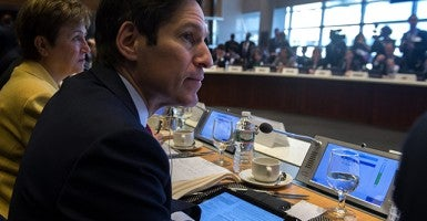 CDC Director Thomas Frieden listens to opening remarks during an Oct. 9 event on Ebola. (Photo: Newscom)