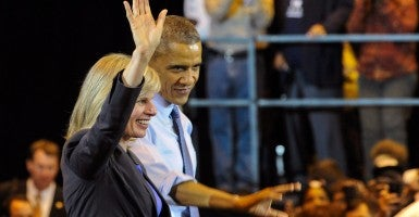 President Obama campaigns with Mary Burke in Milwaukee on Oct. 28. (Photo: Newscom)