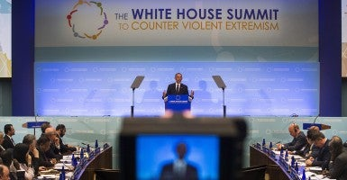 President Barack Obama speaks at the White House Summit on Countering Violent Extremism at the State Department. (Photo: EPA/Jim Lo Scalzo/Newscom)