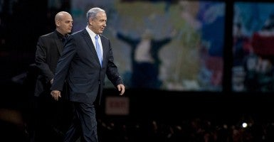 Israeli Prime Minister Benjamin Netanyahu before addressing AIPAC in Washington, D.C. (Photo: Pete Marovich/Newscom)