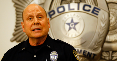Garland police spokesperson Joe Harn addresses the media. (Photo: Mike Stone/EPA/Newscom)