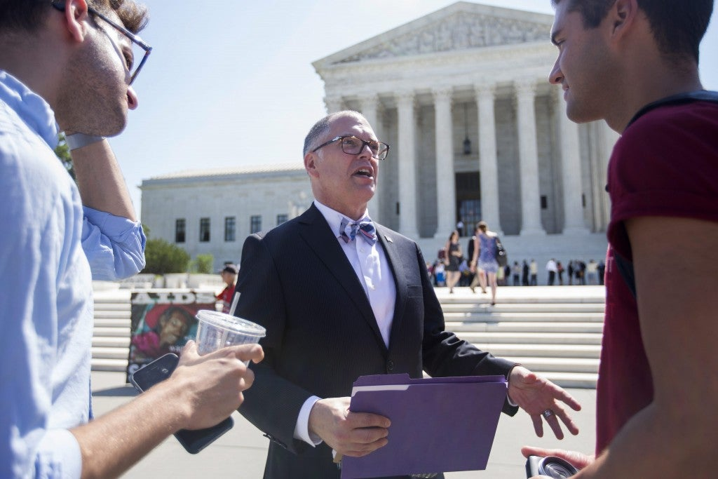 James Obergefell, the lead plaintiff in the gay marriage case before the Supreme Court, leaves after the court did not issue a ruling in his case on Monday, June 22. (Photo: Jim Lo Scalzo/EPA/Newscom)
