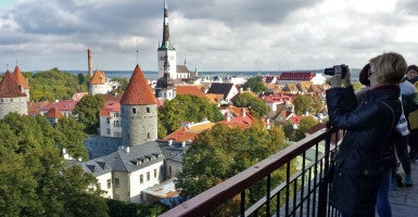 Tourists in the Estonian capital Tallinn, as seen from the Toompea old town. (Photo: Mauritz Antin/EPA/Newscom)